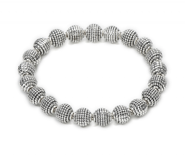Metal round bead stretchy bracelet- eye catching!
