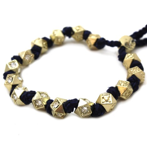 Navy & Gold Corded Beads Crystal Bracelet
